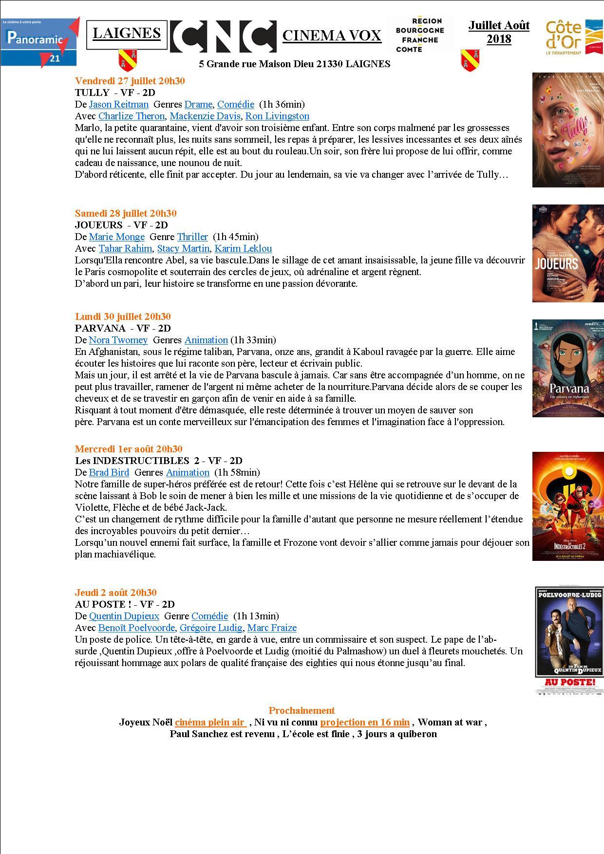 Programme cinéma Vox Laignes